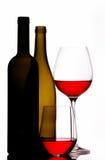 De flessen en de glazen van de wijn Stock Afbeeldingen