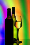 De flessen en de glazen van de wijn Stock Fotografie