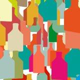 De flessen en de Glazen van de wijn stock foto
