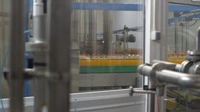 De flessen met sap worden gevuld bewegen zich langs de transportband die stock video