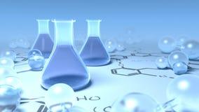 De flessen van Chemisty die met molecules worden omringd Royalty-vrije Stock Afbeelding