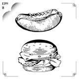 De flessen van de ketchup en van de mosterd op achtergrond Hamburger Snel heerlijk voedsel Stock Afbeeldingen