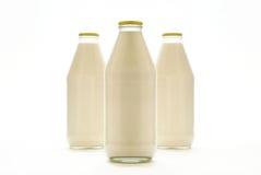 De Flessen van de melk stock foto's