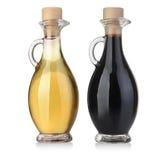 De Flessen van de Olijfolie en van de Azijn Stock Foto