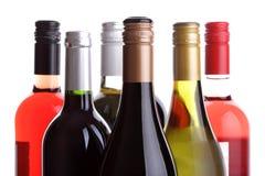 De flessen van de wijn Stock Foto's