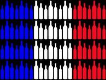 De flessen van de wijn en Franse vlag vector illustratie