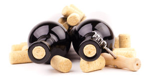 De flessen van de wijn en kurkt Stock Fotografie