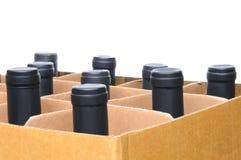 De Flessen van de Wijn van de close-up in Doos royalty-vrije stock fotografie
