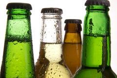 De flessen van het bier met dalingen Royalty-vrije Stock Foto