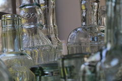 De flessen van het glas Royalty-vrije Stock Foto's