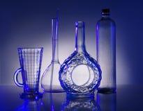 De flessen van het glas Stock Afbeeldingen