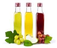 De flessen van het glas azijn Stock Afbeelding
