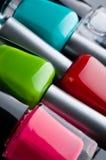 De flessen van het nagellak Stock Foto