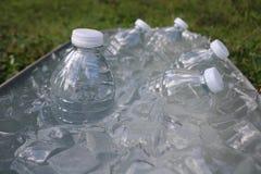 De flessen van het water in ijs Stock Afbeeldingen