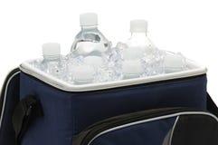 De Flessen van het water in Koeler stock foto's
