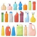 De flessen van huishoudenchemische producten pakken de schoonmakende vectorillustratie van het huishoudelijk werk vloeibare binne Stock Foto's