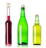 De flessen van partijen van diverse alcoholische dranken   Royalty-vrije Stock Afbeelding