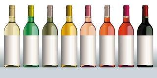 De flessen van de wijn verschillende kleuren stock illustratie