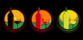 De flessenillustraties van de wijn Royalty-vrije Stock Afbeelding