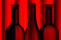 De flessensilhouetten van de wijn Royalty-vrije Stock Afbeeldingen