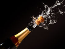 De flessenuitbarsting van Champagne Royalty-vrije Stock Foto's