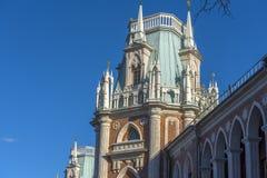 De Fliegeltorens van het Tsaritsyno-Paleis bouwden het eind van XVIII eeuw in royalty-vrije stock afbeelding