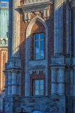De Fliegeltorens van het Tsaritsyno-Paleis bouwden het eind van XVIII eeuw in stock fotografie