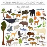 De flora en de fauna vlakke elementen van Noord-Amerika Dieren, vogels en royalty-vrije illustratie