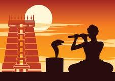 De fluit van het slangenbezweerderspel om te kronkelen, toont van Indiër, zonsondergangtijd stock illustratie