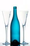 De fluiten & de fles van Champagne Stock Fotografie