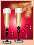 De fluiten en de Kerstboom van Champagne Stock Afbeeldingen