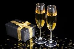 De fluiten van Champagne Stock Afbeeldingen