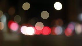De focused/blur image of city at night stock footage