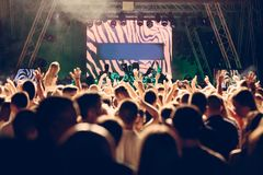 De-focused concert crowd. Closeup picture Royalty Free Stock Photography