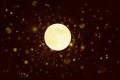 De fokuserad cirkelbakgrund med månen Royaltyfri Fotografi