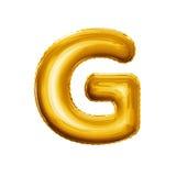 De folie realistisch alfabet van G van de ballonbrief 3D gouden Stock Foto