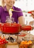 De fondue van de close-upkaas Stock Afbeeldingen