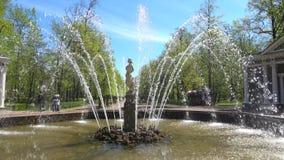 De fontein` Adam ` close-up van zonnig kan dag Peterhof stock footage