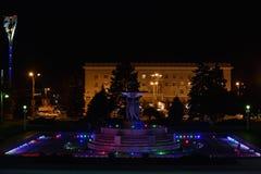 De fontein in het belangrijkste vierkant van rostov-op-trekt aan royalty-vrije stock foto