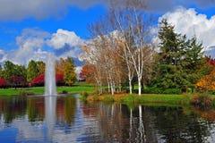 De fontein op de achtergrond amungst valt kleuren. stock fotografie
