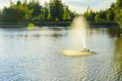 De fontein op het meer Stock Afbeelding