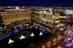 De fontein toont bij Bellagio hotel en casino bij nacht, Las Vegas, Royalty-vrije Stock Foto