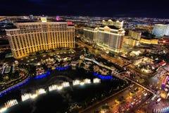 De fontein toont bij Bellagio hotel en casino bij nacht, Las Vegas, Royalty-vrije Stock Afbeeldingen