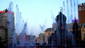 De fontein toont in Sophia Square in Haerbin-stad stock footage