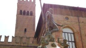 De fontein van Bologna Neptunus stock videobeelden
