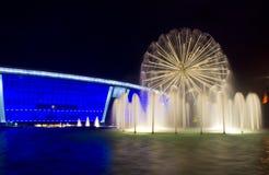 De fontein van de nacht Stock Fotografie