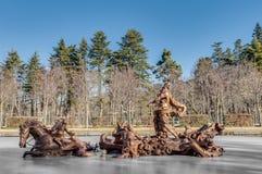 De fontein van de paardenkoers bij het Paleis van La Granja, Spanje Stock Afbeelding