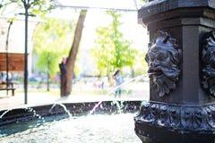De fontein van het leeuwwater in een park stock fotografie