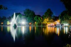 De fontein van het nachtwater Royalty-vrije Stock Foto