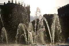 De fontein van het water in Barcelona Stock Fotografie